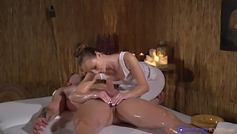 Oiled Hottie Lady Bug Gives A Massage And Gets Penetrated