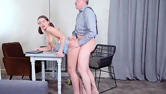 Babe Rewards Old Teacher With A Crazy Fuck Action