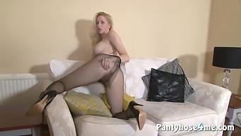 Busty Tits Blond Hair Babe Babe In Pantyhose Masturbating Vigorously