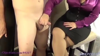 Femdom Mother Handjob With Cum With Her Leg