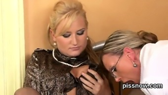 Astonished Looker In Panties Is Geeting Urinated On And Drilled