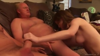 Nina Stevens Has Got A Threesome With The Use Of Two Horny Old Guys