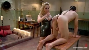 Guy Gets Gagged And Fucked In Booty By Moaner With Strapon