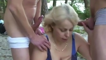 Very Old Granny Requires A Couple Of Cocks From Either Side Outdoors