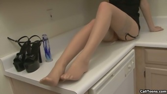 Faye Reagan In Stockings Some Kind Of Toy Fucking Her Pussy In Erotic Kitchen Masturbatory Stimulation