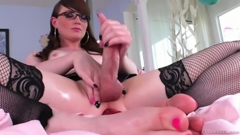 Perverted Shemale In Stockings Natalie Mars Is Toying Flexed Anal Passage Gap