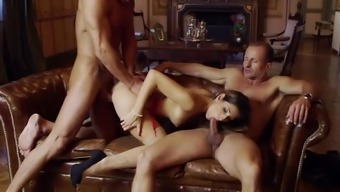 Clea Gaultier Intense Love-Making By Using Two More Senior Males