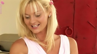 Jenny Is A Cute Blond Taking Pleasure In A Guitar Solo Game With A Red Dildo