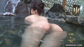 Blemished Asian Hen Rin Hitomi Holder Up With One Stranger In A Community Bath