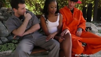 Slutty Ebony Chick Amilian Kush Gets Confidential Along With Two Light Colored Dudes