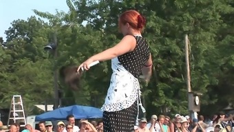 Exhibitionist Redheaded Milf Dances Naked Facing An Audience