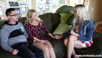 A Wifey Sympathized Her Boyfriend Along With A Warm Teenager On Your Bed For A Threesome