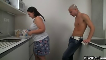Plus-Size Woman Sex For The Home Kitchen