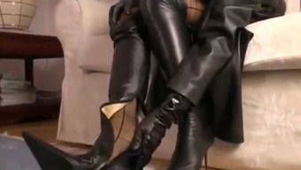 Heated Blonde Teasing In A Leather-Based Tub Chair And High-Heel Shoes
