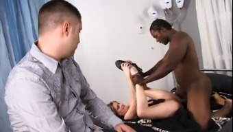 White Colored Guy Wrist Watches As His Wife Gets Her Pussy Fucked &Amp; Have To Deal With Creamed By Maximum Guy
