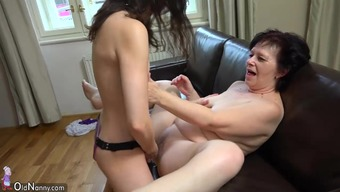 Oldnanny Tubby Senior And Cute Teen Is Playing Along With Strapon