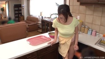 Topless And Big Tits Japanese Love Blows Two Different Guys In Their Kitchen