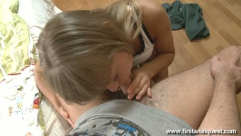 Palatable Lusty Light Haired Cowgirl Gives Man Remarkable Blowjob