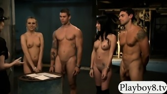Two Glamour Females Foursome Along With Foul Men Within The Jailcell