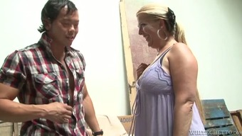 Chubby Milf Gets Fucked By A Few Asian Stud Within A Value Create Space
