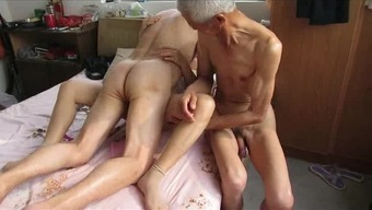 Asian Grand Father Trio By Using Grow Older Girl