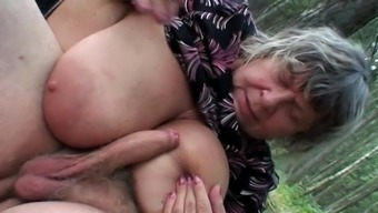 Outside Trio Along Attractive Granny And Teen