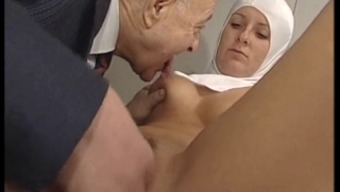 Sizzling Bodied Nun Gets Fondled By Tainted Old Man !