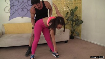 Her Yoga Master Will Help Her Work Out In That Case Improvements Her His Junk
