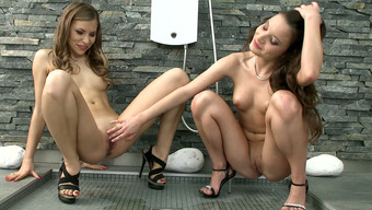 Charming Trimmed Lesbians Anita B And Chocolate Completely Love Complete Hot Sex In Bed Room