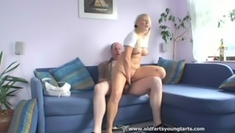 This Old Man Fucks A Surprising Girl On The Divan
