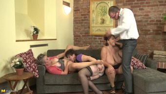 Match Guy In Home Business Dress Gets Bare To Effectively Fuck Three Old Babes