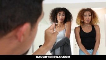 Daughterswap - Ebony Girl Siblings Punished &Amp; Fucked For Consuming Out