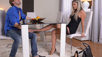Fascinating Brown In Stockings Give Footjob To One Entered Hunk