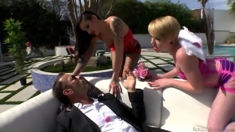 Outside Threeway Along With Alby Rydes, Miley May And Rocco Siffredi