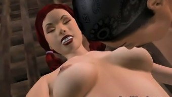 Horny Three Dimensions Redheaded Babe Gets Bound And Fucked Challenging
