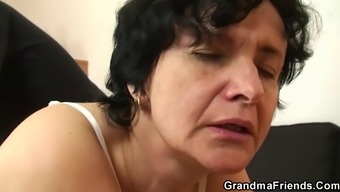 Incredibly Old Furry Pussy Granny Swallows A Pair Of Cocks