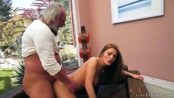 Attractive Grandpa Plants His Plant Among The Pussy Of A Cute Young Adult
