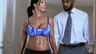 Raven Haired Strong Milf With Large Plastic Type Jugs Gives A Head To Dark Colored Boyfriend In Bathroom