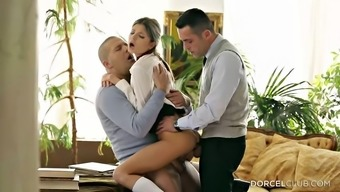 Dual Pepping Up Her Moist Youngster Fuck Cracks In A Threesome