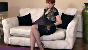 Blonde Mum Along With Stockings In Independently Performance
