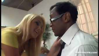 Blond Baby In Pantyhose Gets Fixed By Big Topmost Prick In Interracial Send
