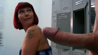 Young Bf Spying Busty Red Haired Milf Carrie Ann Having A Shower