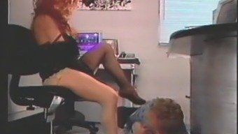 Guy Gives Head Redhead'S Toes And Very High Peak