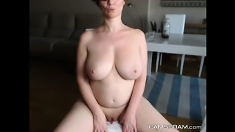 Fascinating Great Breasted Milf Shows Off With The Soppy Twat