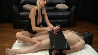Mean Milf Gives Brutal Femdom Handjob To Actually Cock In Servitude