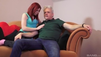 Redheaded Hen Is Fascinated By A Fuck With An Older Adult Man