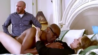 Whore Wifey Gets Her Pussy Polished By Bbc Despite Her Spouse Sitting Down Alongside Her
