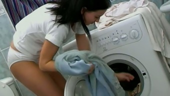 Altered Young Adult In Light Panties Masturbates Pussy On Any Appliance
