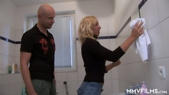 Skinny Light Gf Is Touching Incline Before Wild Puppy Design Sex Among The Wash Room