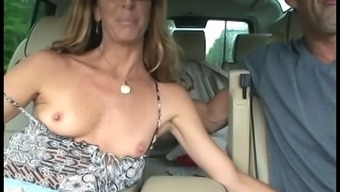 Delightful Cougar In Denim Pants Presenting Her With Guy Handjob Until Such Time As The Gentleman Cums